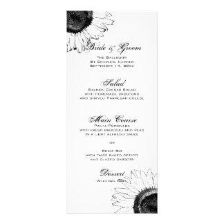Black and White Sunflowers Wedding Menu