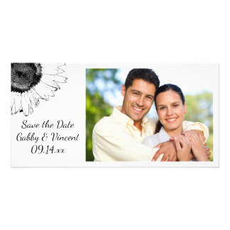 Black and White Sunflowers Wedding Save the Date Customized Photo Card