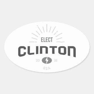 Black and White Sunny Elect Clinton 2016 Oval Sticker