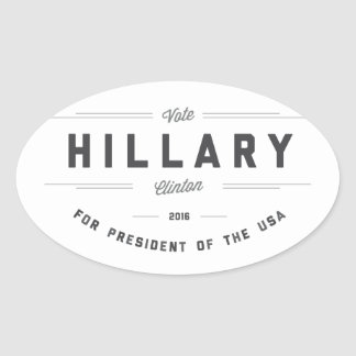 Black and White Sunny Elect Clinton 2016 Oval Sticker