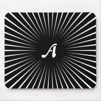 Black and White Sunrays Monogram Mouse Pad