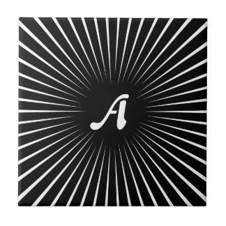 Black and White Sunrays Monogram Small Square Tile