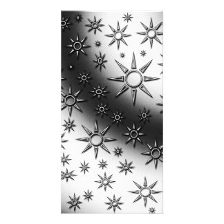 Black and white suns pattern photo card template