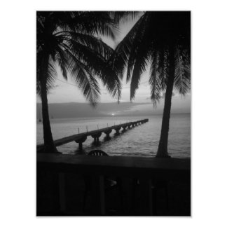 Black and White Sunset in Dominica Poster