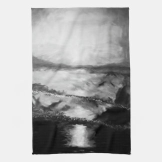 Black and White Sunset kitchen towel