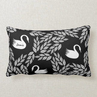 Black and White Swan Any Color Lumbar Pillow