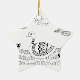Black and white swan doodle ceramic star decoration