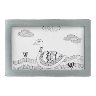 Black and white swan doodle rectangular belt buckle