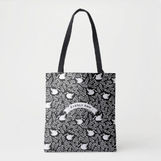 Black and White Swan Pattern Tote Bag