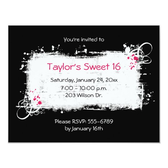 Black and White Sweet 16 Party Invitation