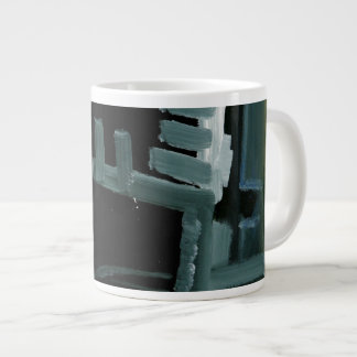 Black and White Swiped Abstract Paint Mug Jumbo Mug