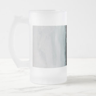 Black and White Swipes Abstract Painting Beer Mug