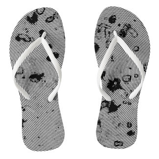 Black and White Swirl Abstract Pattern Flip Flops