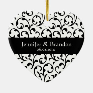 Black and White Swirl Damask Wedding Ornament