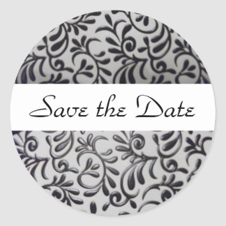 Black and White Swirl Save the Date Envelope Seal Round Sticker