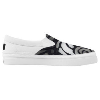 Black and White Swirl Slip On Shoes