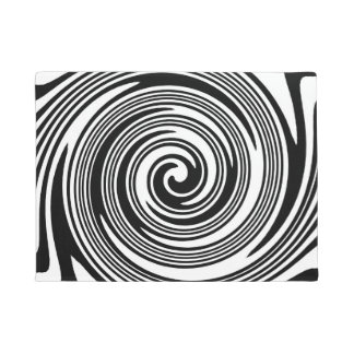 Black and white swirling pattern doormat