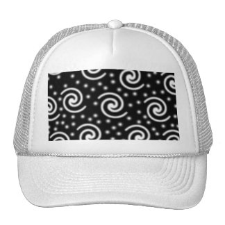 Black and White Swirls and Dots. Trucker Hat