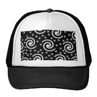 Black and White Swirls and Dots. Hats