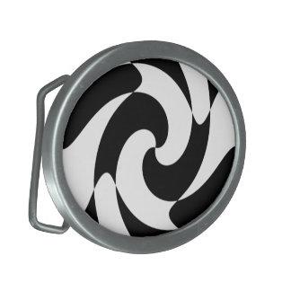 Black And White Swirls Belt Buckle