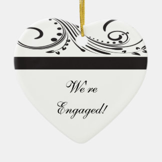 Black and White Swirls Engagement Ceramic Heart Decoration