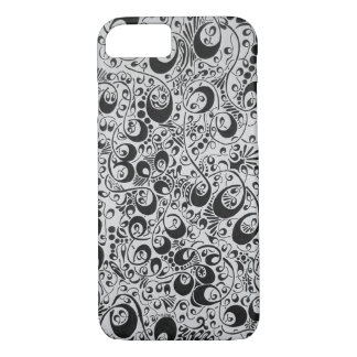Black and white swirls, loops, and dots iPhone 8/7 case