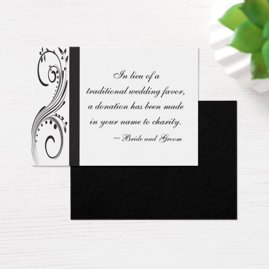 Black and White Swirls Wedding Charity Favour Card