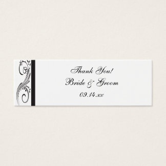 Black and White Swirls Wedding Favor Tags