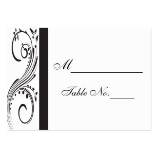 Black and White Swirls Wedding Place Card Pack Of Chubby Business Cards