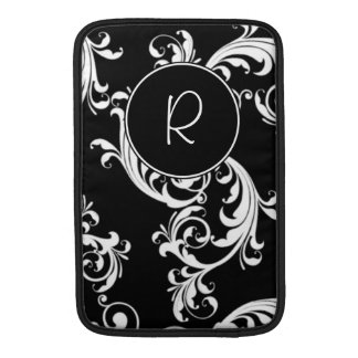 BLACK AND WHITE SWIRLS WITH MONOGRAM SLEEVES FOR MacBook AIR