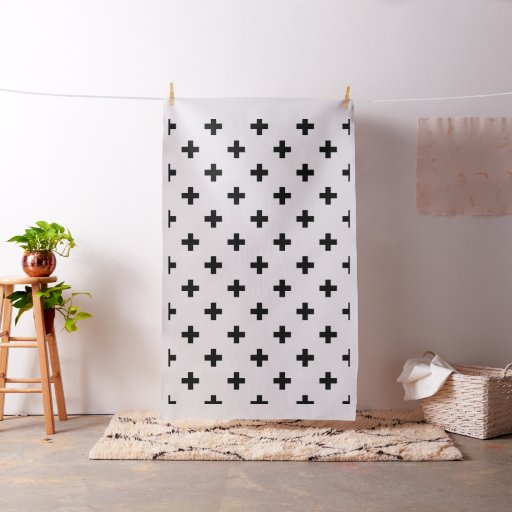 Black and White Swiss Cross Modern Pattern Fabric