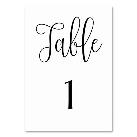 Black and white table number simple Modern wedding