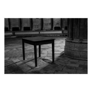 Black And White Table Photograph Poster