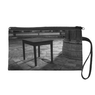 Black And White Table Photograph Wristlet Clutches