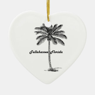 Black and White Tallahassee & Palm design Ceramic Heart Decoration