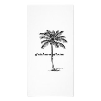 Black and White Tallahassee & Palm design Customized Photo Card