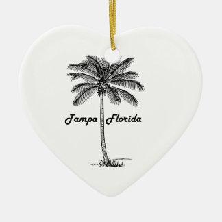Black and White Tampa & Palm design Ceramic Heart Decoration