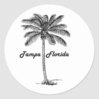 Black and White Tampa & Palm design Classic Round Sticker