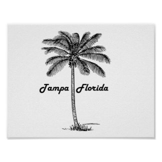 Black and White Tampa & Palm design Poster