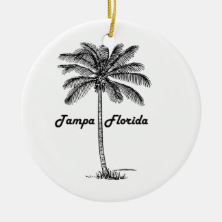 Black and White Tampa & Palm design Round Ceramic Decoration