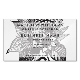Black and White Tangle Floral Hand Drawings Magnetic Business Cards