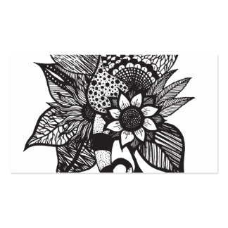 Black and White Tangle Floral Hand Drawings Pack Of Standard Business Cards