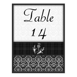 Black and White Tartan Damask Table Number Postcard