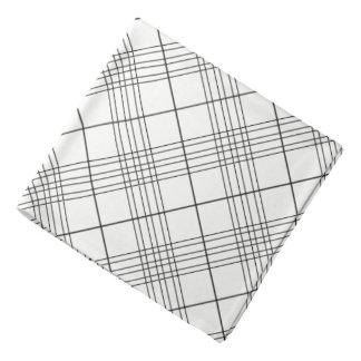 Black And White Tartan Plaid Checked Pattern Bandannas