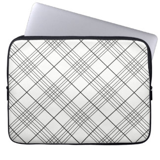 Black And White Tartan Plaid Checked Pattern Laptop Computer Sleeves