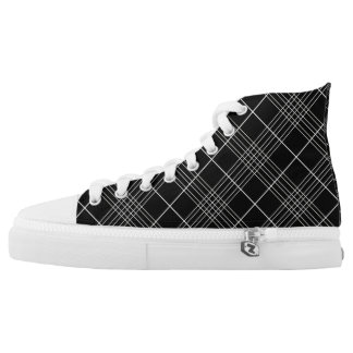 Black And White Tartan Plaid Checked Pattern Printed Shoes