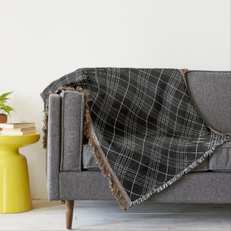 Black And White Tartan Plaid Checked Pattern Throw Blanket
