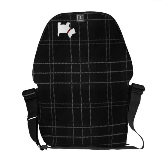 Black and White Tartan Plaid with Scottie Dog