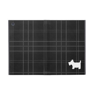 Black and White Tartan & Scottie Dog Cover For iPad Mini