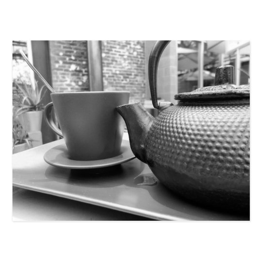 Black and white tea postcard